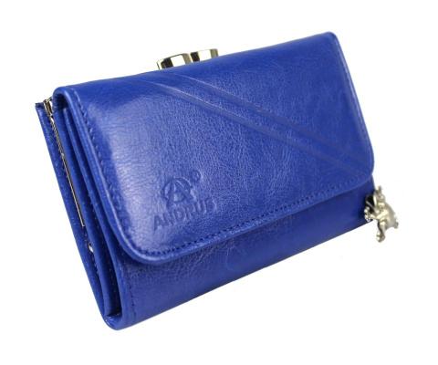 f352b0c96e864 Portfel Damski Skórzany ANDRUS (PL) 14 cm Klamra Skóra Naturalna.  Wyprzedaż. Niebieski Niebieski