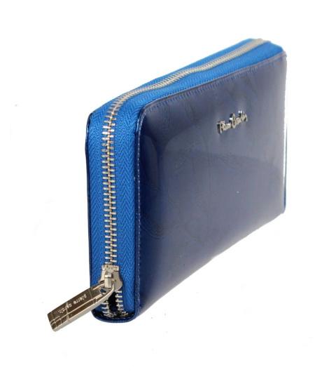 36563309dab6a Portfel Damski Skóra Naturalna PIERRE CARDIN Z Suwakiem Piórnik 19 cm  Lakierowany. Wyprzedaż. Niebieski Niebieski