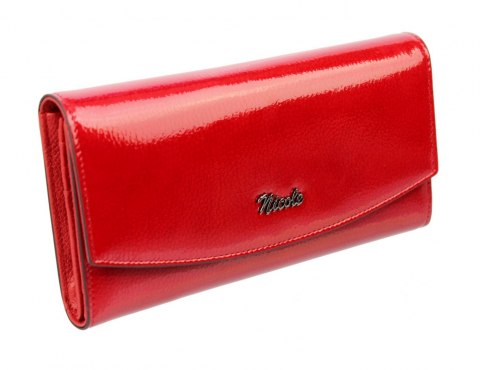 539f455493b04 Portfel Damski Skórzany NICOLE Długi Suwak Wewnątrz Dodatkowy Organizer Skóra  Naturalna 74522. Czerwony lakierowany Czerwony lakierowany
