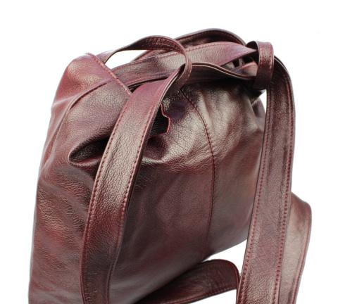 252e00d91fa4d Praktyczny Plecak Skórzany Torebka 2 w 1 MAGRE (PL) TERESA Skóra Naturalna  Licowa CIEMNY BORDOWY
