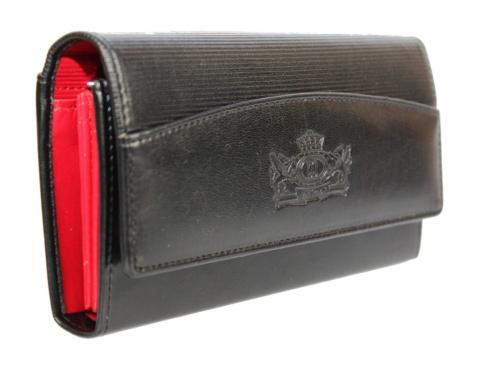 a944268613d5e Portfel Damski WILMAR (PL) Suwak 16 cm Skóra Włoska Czarny Z Czerwonym